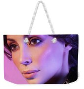 Closeup Beauty Portrait Of Woman Face In Colored Purple Light Weekender Tote Bag