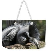 Closeup Of Black And White Angolian Primate Sleeping On Log Raft Weekender Tote Bag