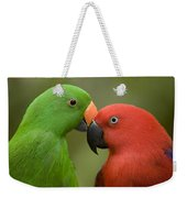 Closeup Of Male And Female Eclectus Weekender Tote Bag