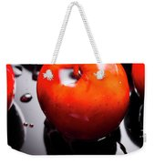 Closeup Of Red Candy Apple On Stick Weekender Tote Bag
