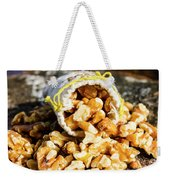 Closeup Of Walnuts Spilling From Small Bag Weekender Tote Bag