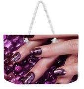 Closeup Of Woman Hands With Purple Nail Polish Weekender Tote Bag
