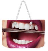 Closeup Of Woman's Mouth Biting On Barbed Wire Weekender Tote Bag