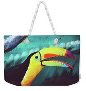 Closeup Portrait Of A Colorful And Exotic Toucan Bird Against Blue Background Nicaragua Weekender Tote Bag
