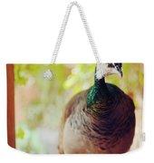 Closeup Portrait Of A Peafowl Weekender Tote Bag