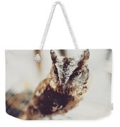 Closeup Portrait Of A Young Owl Looking At The Camera Weekender Tote Bag
