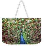Closeup Portrait Of An Indian Peacock Displaying Its Plumage Weekender Tote Bag