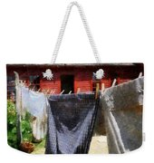 Clothes Hanging On Line Closeup Weekender Tote Bag