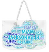 Cloud Illustrated With Cities Of Florida State Weekender Tote Bag