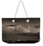 Cloud To Cloud Lightning Boulder County Colorado Bw Sepia Weekender Tote Bag