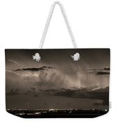 Cloud To Cloud Lightning Boulder County Colorado Sepia Color Mix Weekender Tote Bag
