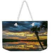Cloudy Lake Sunset Weekender Tote Bag