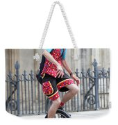 Clown Riding Unicycle In Town Weekender Tote Bag