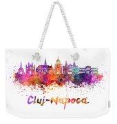 Cluj-napoca Skyline In Watercolor Splatter Weekender Tote Bag
