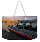 Coast Guard Response Boat At Sunset Weekender Tote Bag