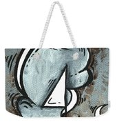 Coastal Art Contemporary Sailboat Painting Whimsical Design Silver Sea I By Madart Weekender Tote Bag