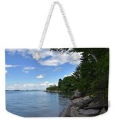 Coastal Maine's Rocky Shore On A Beautiful Summer Day Weekender Tote Bag