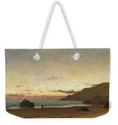 Coastal Scene With A Man And A Dog Weekender Tote Bag