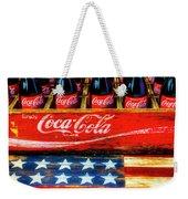 Coca Cola And Wooden American Flag Weekender Tote Bag