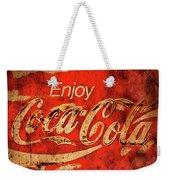 Coca Cola Square Aged Texture Black Border Weekender Tote Bag