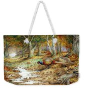 Cock Pheasant And Sulphur Tuft Fungi Weekender Tote Bag by Carl Donner