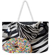 Coffee And Donut On Striped Plate Weekender Tote Bag