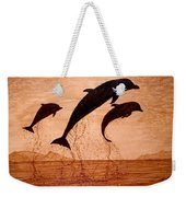 Coffee Painting Dolphins Playing Weekender Tote Bag