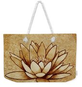 Coffee Painting Water Lilly Blooming Weekender Tote Bag