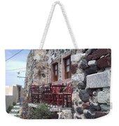 Coffee Shop In Santorini Weekender Tote Bag