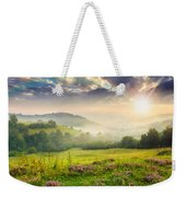 Cold Fog In Mountains On Forest At Sunset Weekender Tote Bag