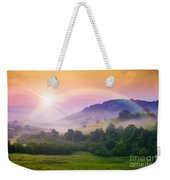 Cold Fog On Hot Sunrise In Mountains Weekender Tote Bag