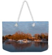 Cold Ice Warm Light - Early Winter Morning On The Lake Shore Weekender Tote Bag