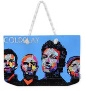 Coldplay Band Portrait Recycled License Plates Art On Blue Wood Weekender Tote Bag