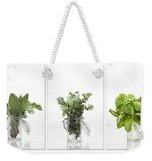 Collage Of Herbs In A Glass Jar Weekender Tote Bag