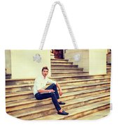 College Student Sitting On Stairs, Relaxing Outside Weekender Tote Bag
