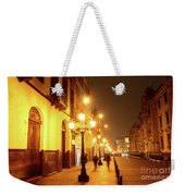 Colonial Street In Central Lima At Night Weekender Tote Bag