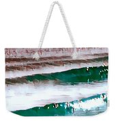 Color Movement-turquoise And Red Weekender Tote Bag