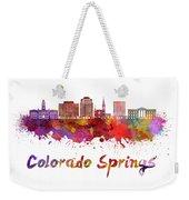Colorado Springs V2 Skyline In Watercolor Weekender Tote Bag
