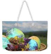 Colored Easter Eggs In Basket And Spring Flowers Weekender Tote Bag