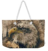 Colored Etching Of American Bald Eagle Weekender Tote Bag