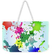 Colored Splashes On A Very Beautiful Blue Background Weekender Tote Bag