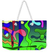 Colored Stripes On A Blue Background Weekender Tote Bag