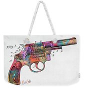 Colorful 1896 Wesson Revolver Patent Weekender Tote Bag by Nikki Marie Smith
