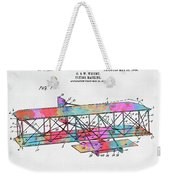 Colorful 1906 Wright Brothers Flying Machine Patent Weekender Tote Bag
