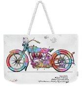 Colorful 1928 Harley Motorcycle Patent Artwork Weekender Tote Bag