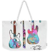 Colorful 1953 Fender Bass Guitar Patent Artwork Weekender Tote Bag by Nikki Marie Smith