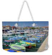 Colorful Boats Docked In Nice Marina, France Weekender Tote Bag