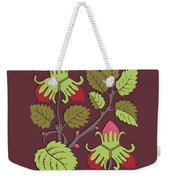 Colorful Botanical Hand Drawn Strawberry Bush Isolated On Vinous Weekender Tote Bag