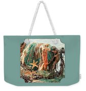 Colorful Catch - Starfish In Fishing Nets Square Weekender Tote Bag