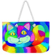 Colorful Crazy Cat Weekender Tote Bag